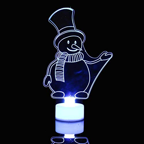 LIULINUIJ Colorful  Snowman New Multi Color  Light Clear Acrylic Christmas Tree Mood Lamp Night  Christmas -
