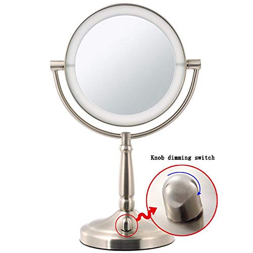Ruixinshi 9 Zoll 3X LED-Make-up-Spiegel,Desktop Light Spiegel Doppelseitig,Rund,360-Grad drehen Make-up-Spiegel beleuchtet Spiegel,Bronze (Bronze-beleuchtete Make-up-spiegel)