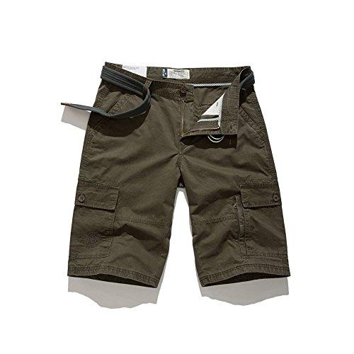 BOLAWOO-77 Hosen Herren Sommer Hosen Nner Der Shorts Männer Hose Mode Marken Jungen Unifarben Sommerhosen Pants Hosen Freizeithose Kurze Hose (Color : Navy Green-1, Size : L)