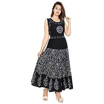 2ccb7d2dd78 ... Dresses  Urban Fab 100% Cotton Block Print Black Maxi Dress for Women