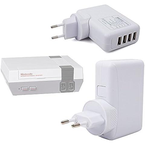 DURAGADGET Cargador De Viaje Blanco Para Consola Nintendo NES Classic Mini - Con 4 Puertos USB Y Enchufe