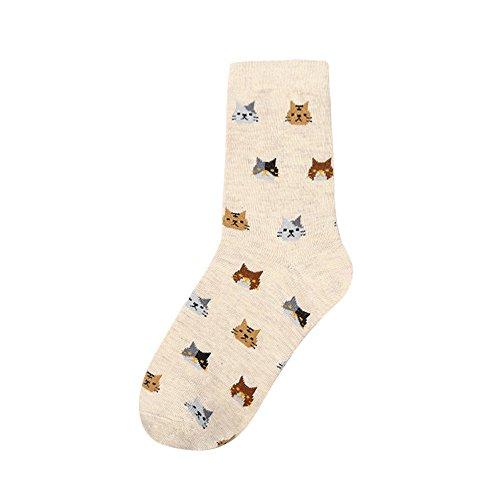 Schwarz Und Rot Rüschen-socken (ITISME Socken Frauen Socke Tier Cartoon Katze Schöne für Frauen Baumwolle Socken 5 Farben)