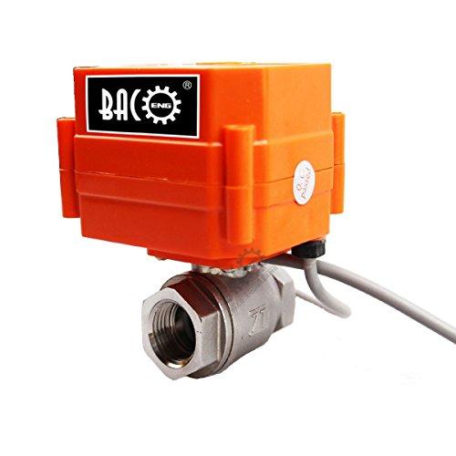 """bacoeng 1/5,1cm/3/10,2cm/2,5cm 2Wege SS304DC12V/24V Motorisierte Ball Ventil, teils offen Elektrische Steuerung Ventil BSP., 1/2"""" SS"""