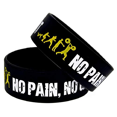 11thGear Breit Band Motivational Everybody Fit No Pain No Gain Silikon Armband (2Armbänder)