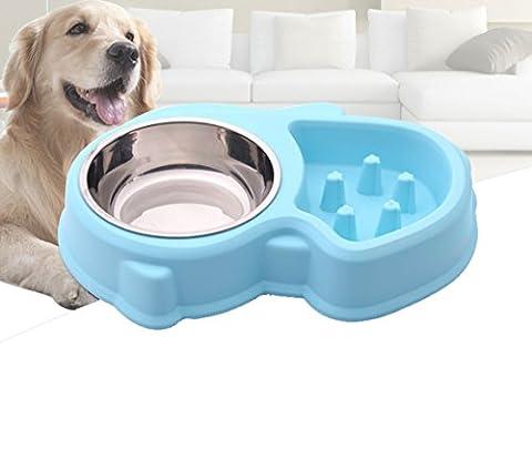 Animal 2 en 1 bol Set-slow Mangeoire Bol et bol en acier inoxydable,Fun,Interactive Feeder ballonnements Stop,une alimentation saine Diet pour chien et chat animaux de compagnie Bleu