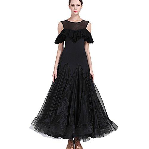 oderner Tanz Für Frauen Zurück Hohl Performance Kostüme Tango Professionel Ballroom Tanz Tanzen Outfit Ärmellos, white, L (Professionelle Jazz Kostüme)