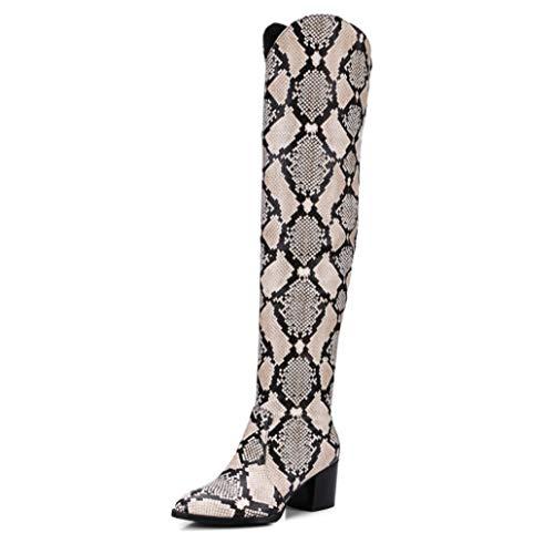 SHANGWU Frauen Winterstiefel Heels/Kniehohe Block Chunky Heels Stiefel Damen Militärkampf Armee Stiefel Overknee Stiefel Snake Print Größe (Farbe : Snake, Größe : 41)