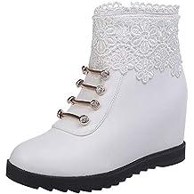 Logobeing Botines Mujer Botas Moda Invierno Cálido Encaje Plano Floral con Cremallera Martin Botas Zapatos de
