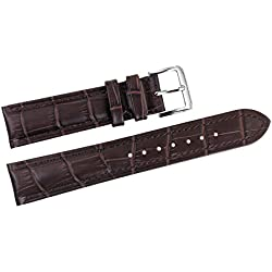 21mm Dark Brown Luxury Italian Leather Replacement Watch Straps/Bands Grosgrain Padded for Top-Grade Wristwatches