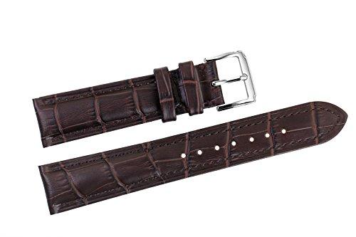 21 mm marrone di lusso cinturini in pelle di ricambio italiani scuri / band grosgrain imbottiti per orologi da polso top-grade
