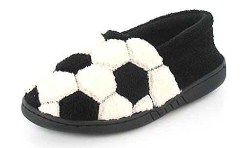 New Boys/Childrens Black/White Full Novelty Design Slippers - Black/White - UK SIZE 4
