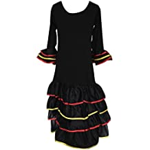 La Senorita Vestido Flamenco España Traje de Flamenca chica/niños negro (Talla 8, 116-122 - 80 cm, 6/7 años)