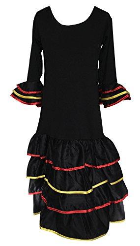 La Senorita Spanische Flamenco Kleid / Kostüm Deluxe España - für Mädchen / Kinder - Schwarz (Größe 128-134 - Länge 85 cm- 7-8 Jahr)