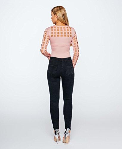 Damen-Laser-Cut Cage Long Sleeve Bodysuit EUR Größe 36-42 Rose