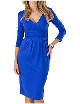 Vestido De Algodón GHZGF Para Mujer Collar Con Cuello En V De Manga Larga Falda Larga Cintura Alta Cóctel Elegante