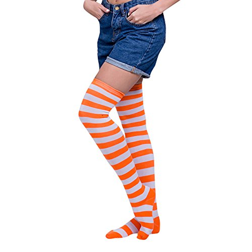 SuperSU Frauen Sexy Regenbogen Oberschenkel hoch über dem Knie Socken Strümpfe Stockings Langer Über Kniestrümpfen Halloween Cosplay Zusätze für Karnevals Party Stützen Fußball Socks Clown Kostüm (I)