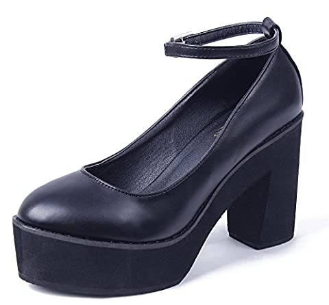 AgeeMi Shoes Women Platforms Court Shoes Ankle Strap Chunky Heels Party Shoes,EuD43 Black 41