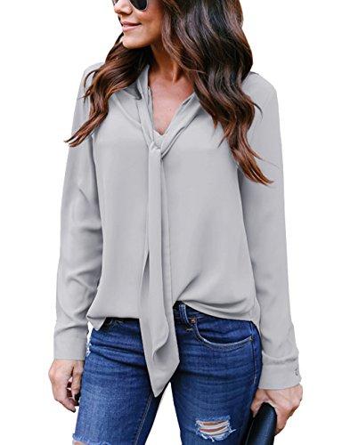 Hownew-X Damen Bluse Elegant Chiffon V-Ausschnitt Langarm Casual Oberteil Lose Langarmshirt V-Ausschnitt Vintage Tunika Hemd T-Shirt (L, Grau)
