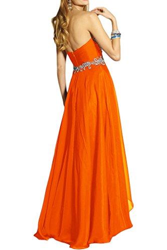 Ivydressing Damen Fashion Herz-Ausschnitt A-Linie Chiffon Lang Promkleid Festkleid Abendkleider Orange