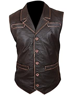 Leatherly Chaqueta de hombre Hell On Wheels Cuero Chaleco