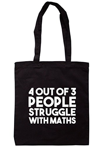breadandbutterthreads 4fuori 3Persone Struggle Con Matematica Borsa 37,5cm x 42cm con manici lunghi Black