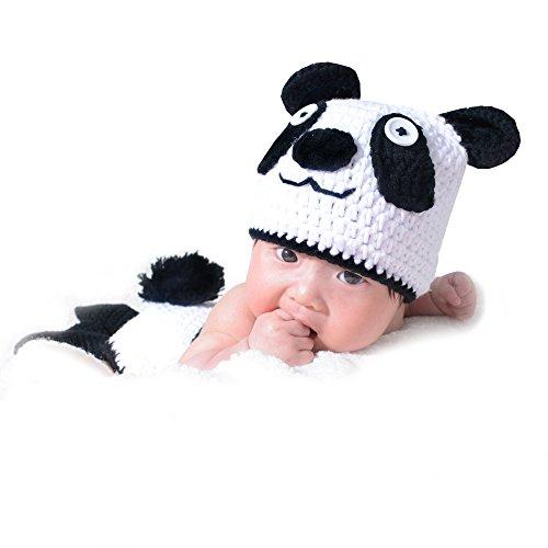 cloele Baby Newborn Fotografie Requisiten handgefertigt Häkel Strick Panda Kostüm Hat und Shorts Set Infant Outfits
