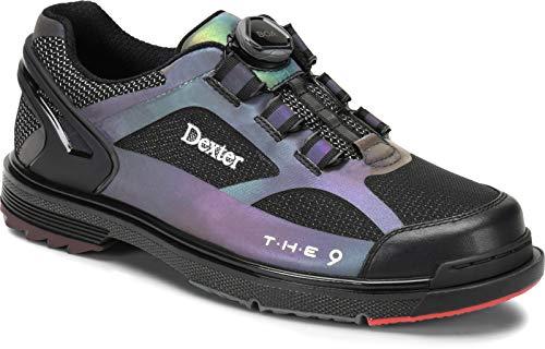 Dexter The 9 HT BOA - Schwarz/Wechselfarben - extra Breit-Bowling-Schuhe Damen und Herren, mit Wechselsohle, BOA Verschlußsystem, Schuhgrößen 39,5-45,5 und Mein-Bowlingshop Schuhtasche Set Größe 44,5