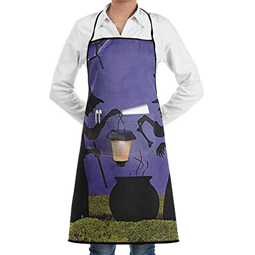 tch Cauldron Pot Solar Lighted Lantern Halloween Silhouette Commercial Chef Apron with Pocket, Unisex Restaurant Kitchen Bib Apron, Machine Washable, Perfect for Cooking ()