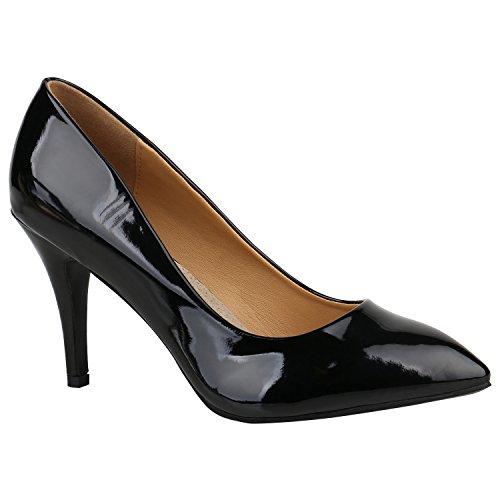 Stiefelparadies Damen Schuhe Pumps Spitze Elegant Lack Schuhe High Heels Stilettos 156922 Schwarz Lack Arriate 42 Flandell