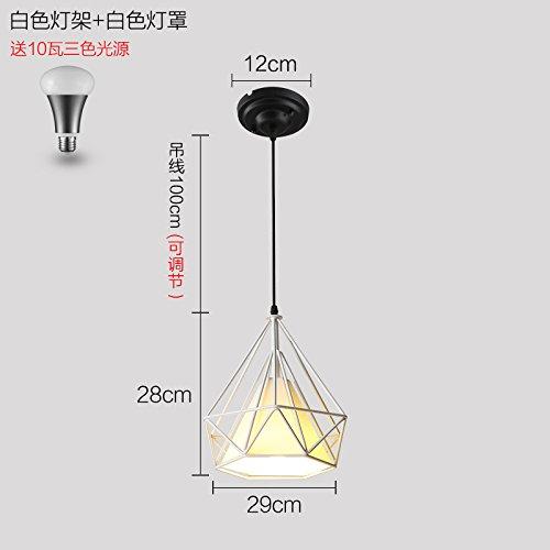 Luckyfree Moderne, einfache Eisen Pendelleuchte Zimmer Bar Cafe Restaurant Küche Flur Lampen Deckenleuchte Kronleuchter, weiße Leuchtturm weiße Lampe 10 Watt -