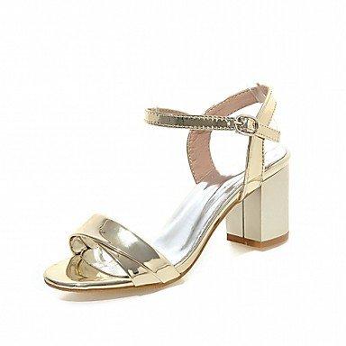 LvYuan Da donna Sandali Finta pelle PU (Poliuretano) Estate Autunno Footing Fibbia Quadrato Oro Argento Rosso Rosa 5 - 7 cm Silver