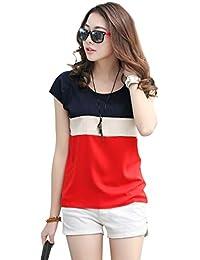 AnCart Women's Crepe Cap Sleeve T-Shirt (10034-Top, Blood-Red, Medium)