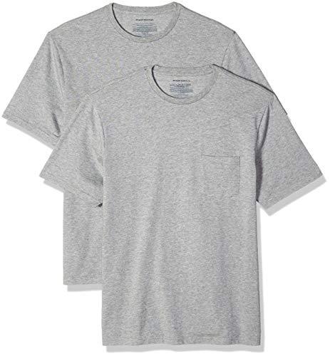 Amazon Essentials mens 2-Pack Regular-Fit Crew Pocket T-Shirt T-Shirt 2-Pack Regular-Fit Crew Pocket T-Shirt, Grau (Heather Grey Hea), X-Large (Herstellergröße: X-Large) (Pocket T-shirts Für Männer)
