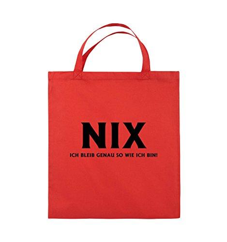 Comedy Bags - NIX ICH BLEIB GENAU SO - Jutebeutel - kurze Henkel - 38x42cm - Farbe: Schwarz / Pink Rot / Schwarz