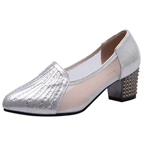 Oasap Women's Pointed Toe Rhineston Block Heels Slip-on Dance Shoes Silver-1