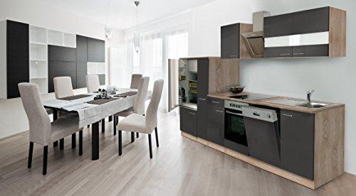 respekta Instalación de Cocina Cocina 310cm Roble Frontal Gris vitrocerámica & Designer...