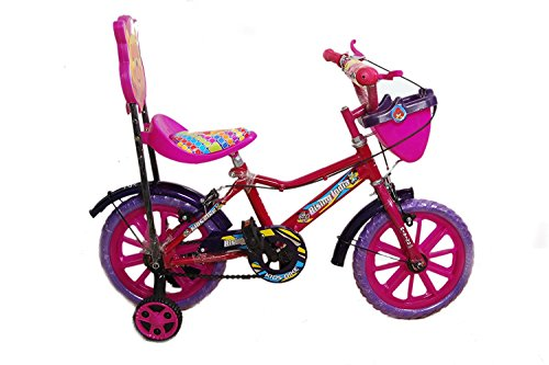 """Rising India 14"""" Pink Kids Bicycle for 3-5 Years Aqua Seat Fan Wheel with Basket -Semi Assembled"""