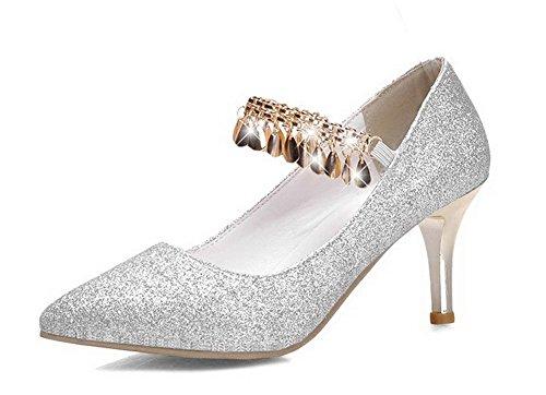 AllhqFashion Damen Ziehen Auf Mittler Absatz Pailletten Rein Pumps Schuhe Silber