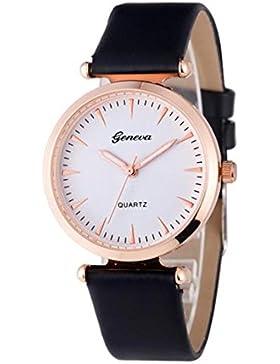 Vovotrade Damen Diamant analoge lederne Quarz Armbanduhr Uhren(Schwarz)