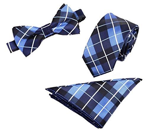 Premium Herren Krawatten gesetzt | 3-teiliges Set | Luxus-Krawatte | Lange Größe Necktie Seide | Gewebt Kostüm Hochzeit Party Business | Büro | Taschentuch | Bogen-Krawatte | Haltbar Luxuriös