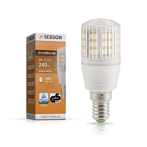 SEBSON E14 LED 3W Lampe EEK A+ vgl. 25W Glühlampe - 240 Lumen - E14 LED warmweiß - LED Leuchtmittel 160°