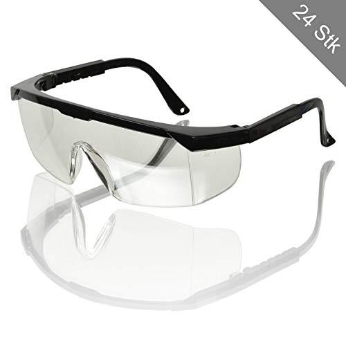 24 Schutzbrillen Brille Seitenschutz Bügel Verstellbar Sicherheitsbrille