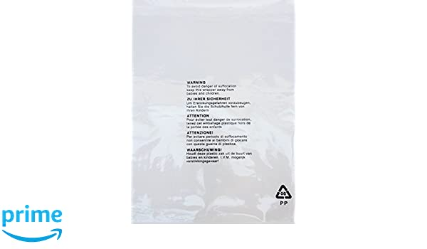 200 x Self Seal OPP Crystal Clear Poly Bags with Suffocation Warning in 5 Languages 254 x 355mm 10 x 14