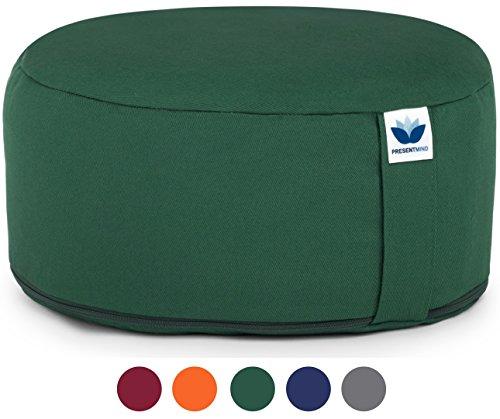 Meditationskissen/Yogakissen Rund Premium Zafu Bezug Waschbar - Einheitsgröße (Grün)
