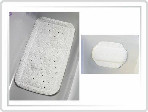 Wanneneinlagen-Set Kopfpolster und Badewannen-Einlage weiss