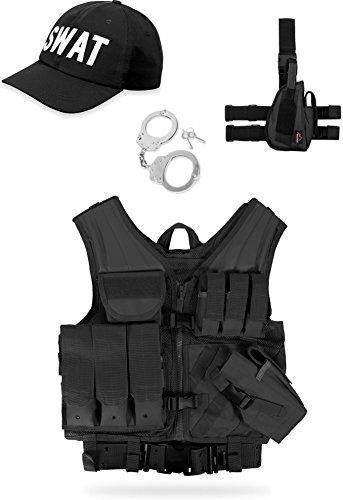 normani Einsatz Kostüm für Erwachsene - Karneval Verkleidung - SWAT, Police, Security oder FBI Set Farbe SWAT Größe Rechts