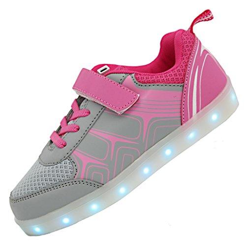 Bevoker LED Schuhe Kinder Jungen M盲dchen Unisex Leuchtend Sneaker Laufschuhe Sportschuhe Pink