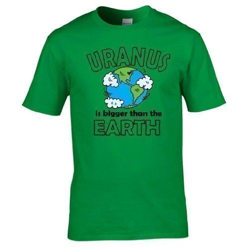 Naughtees kleidung - Uranus is größer als the Earth voll Bedrucktes T-shirt Grün