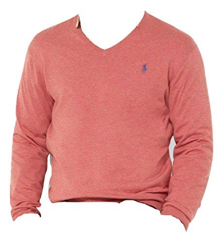 Ralph Lauren Herren Pullover V-Neck Rot Heather Pima Cotton (L) (Pima-baumwolle Pullover)
