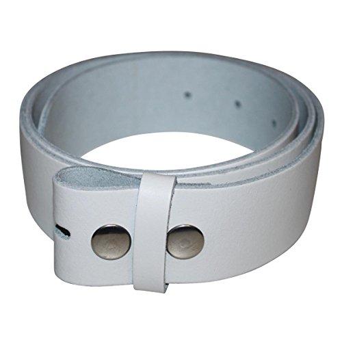 Freak Scene® 4cm breiter Ledergürtel für Gürtelschnallen, Farbe-Länge: weiß-95 -